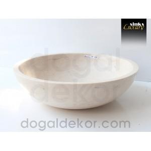 Doğaltaş Mermer Tezgah Üstü Banyo Dolap Lavabosu- DT1236