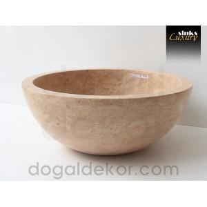 Doğaltaş Mermer Tezgah Üstü Banyo Dolap Lavabosu- DT1239