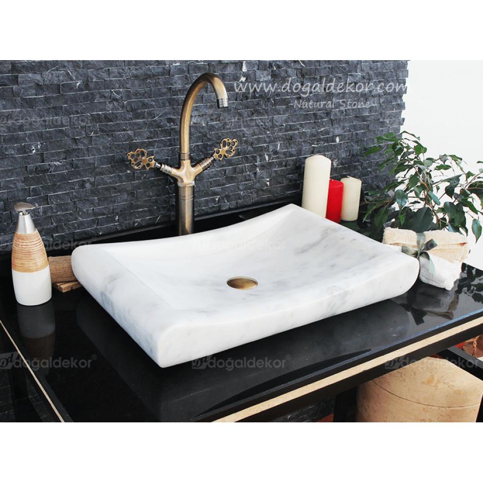 10x40x60 Beyaz Mermer Lavabo -DT1474
