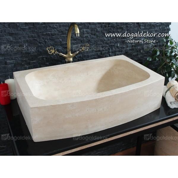 18x46x70cm Doğal Taş Traverten Banyo Lavabo -DT1495