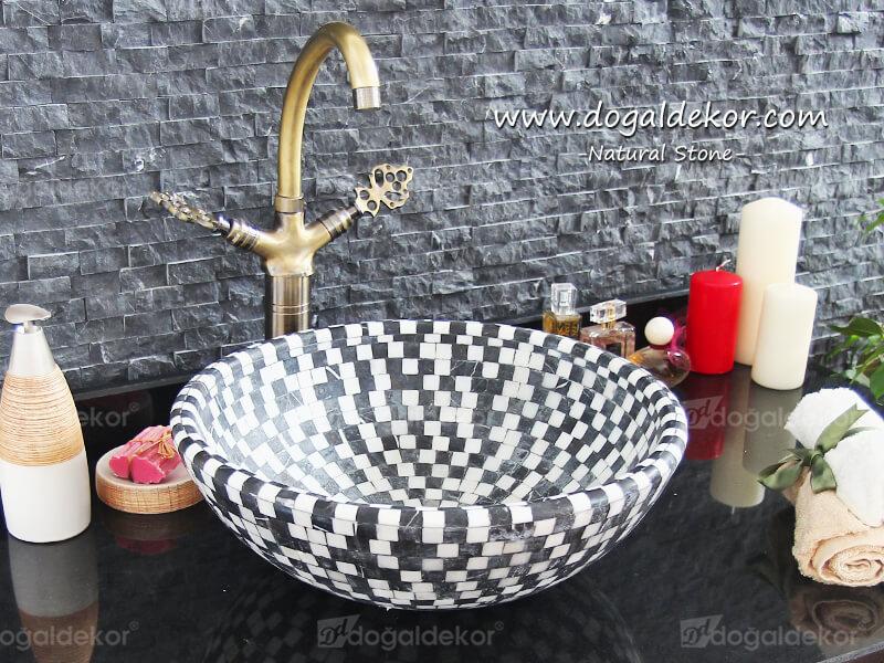 15x42cm El yapımı Mozaik Çanak Mermer Mozaik Lavabo -DT1505