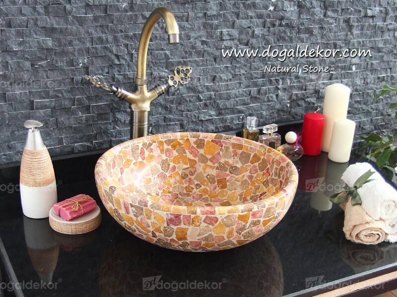 15x42cm El yapımı Mozaik Çanak Mermer Traverten Lavabo -DT1506