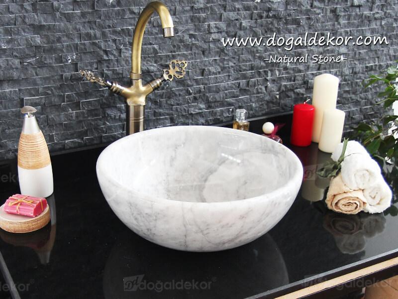 14x41cm Beyaz Mermer Lavabo - DT1515