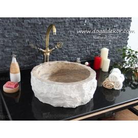 15x42cm Doğal Rustik Natural Taş Lavabo - DT1523