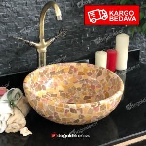 15x42cm Renkli Doğal Taş Traverten Çanak Lavabo-DT1566
