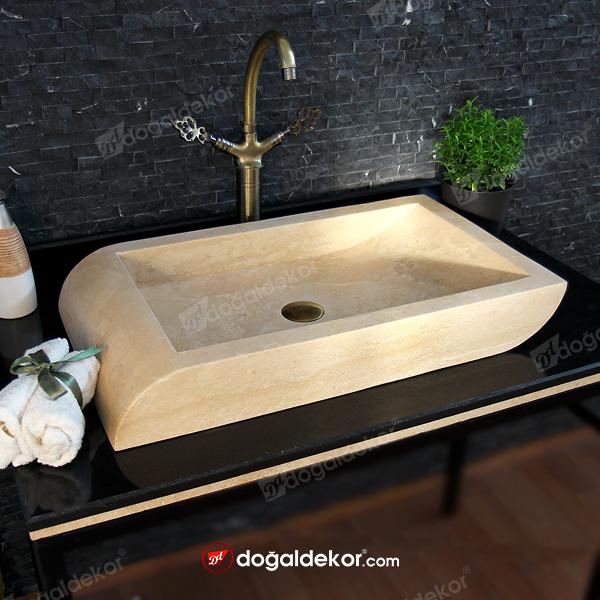 10x40x70cm Traverten Doğal Taş Lavabo - DT1626