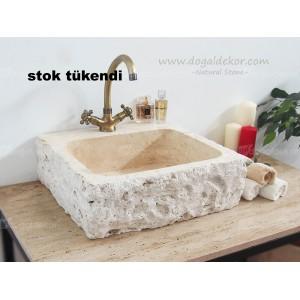 15x45x50cm Rustik Eskitme Doğal Taş Lavabo -DT1463