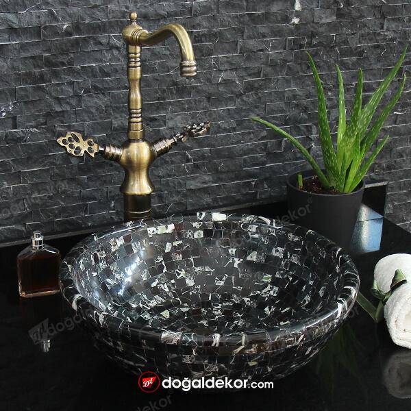 Siyah Mermer Çanak Lavabo Mozaik 15x41cm - DT1687