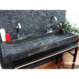 10x47x120cm Siyah Mermer Lavabo -DT1579