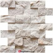 5x10 Bej Mermer Patlatma Taş Duvar Kaplama -DT1001
