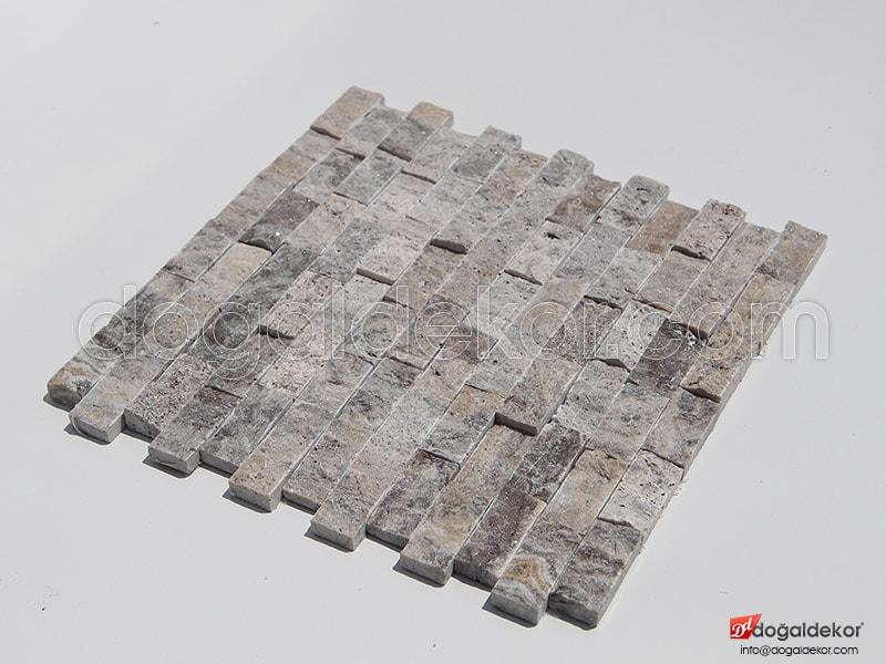 23x48mm Gümüş Traverten Patlatma Taş -DT1012