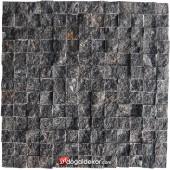 23x23mm Siyah Doğal Taş Fileli Patlatma (AKŞEHİR) -DT1019