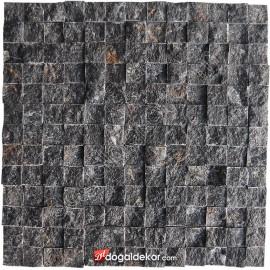 Patlatma Taş Siyah Doğal Taş Fileli (AKŞEHİR) 23x23mm -DT1019