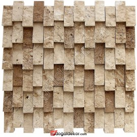 Patlatma Taş Traverten Yalı Baskı Dikey Taş Duvar -DT1076