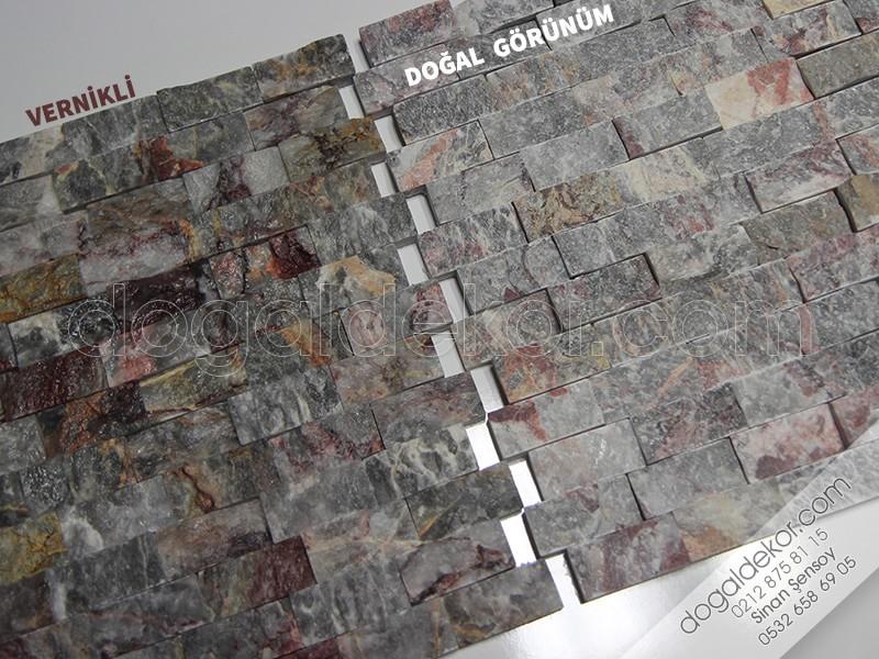 23x48mm Supren Patlatma Füme-Vişne Doğal Taş -DT1077