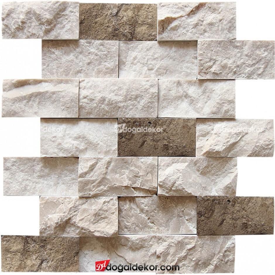 5x10 Mermer - Traverten Mix Doğal Taş Duvar -DT1143