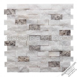 Patlatma Doğal Taş Beyaz Fon Duvar Taşları 23x48mm -DT1157