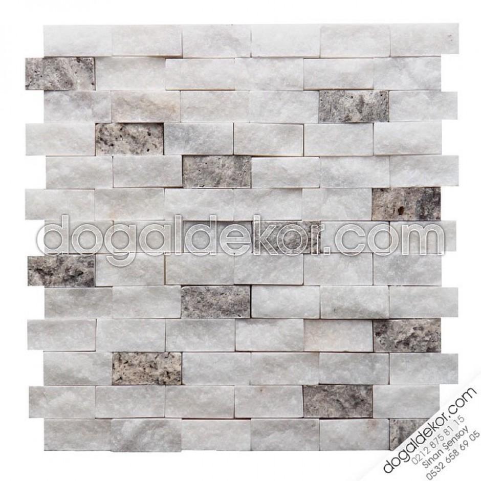 23x48mm Beyaz Fon Doğal Taş Duvar Taşları-DT1157
