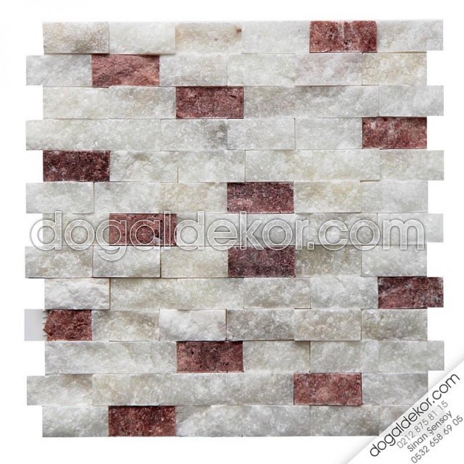 23x48mm Beyaz Fon Kırmızı Traverten Mix Patlatma DT1162