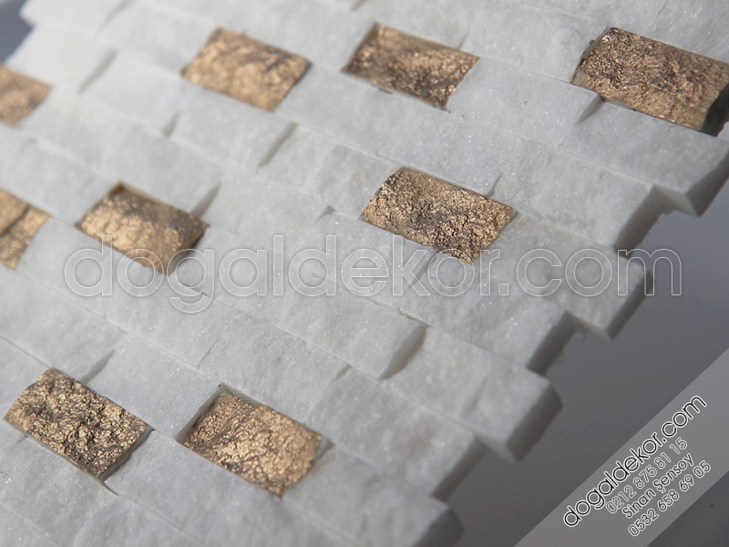 23x48mm Beyaz Fon İstanbul Mermer Patlatma Beyaz-Gold -DT1163