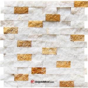 Patlatma Doğal Taş Duvar Mozaik Beyaz Fon Sarı  23x48mm-DT1169