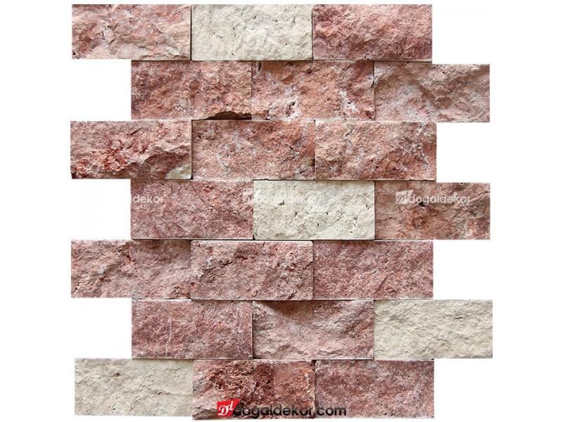 5x10 Kırmızı Traverten Bej Traverten Mix Patlatma -DT1171