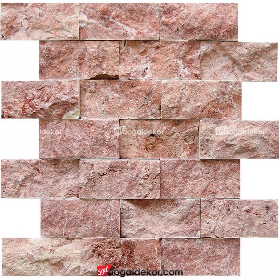 5x10 Kırmızı Traverten Patlatma Duvar Kaplama Taşları -DT1172