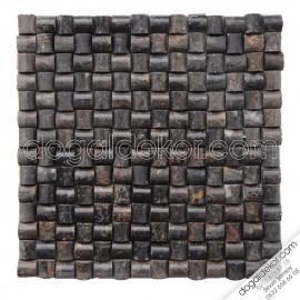 Siyah Mermer Akşehir  Hasır Mozaik 23x23 - DT1173