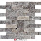 5x15 Gümüş Traverten Patlatma Duvar Kaplama - DT1183