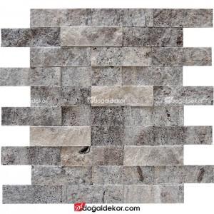 Patlatma Taş  Traverten Gümüş Duvar Kaplama 5x15 - DT1183