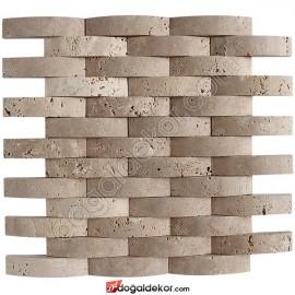 Traverten Doğal Taş Hasır Mozaik 2.3x10cm - DT1201