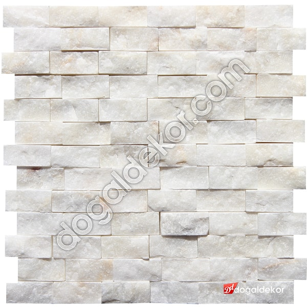 Mermer Patlatma Doğal Taş Duvar Süper Beyaz 23x48mm -DT1241