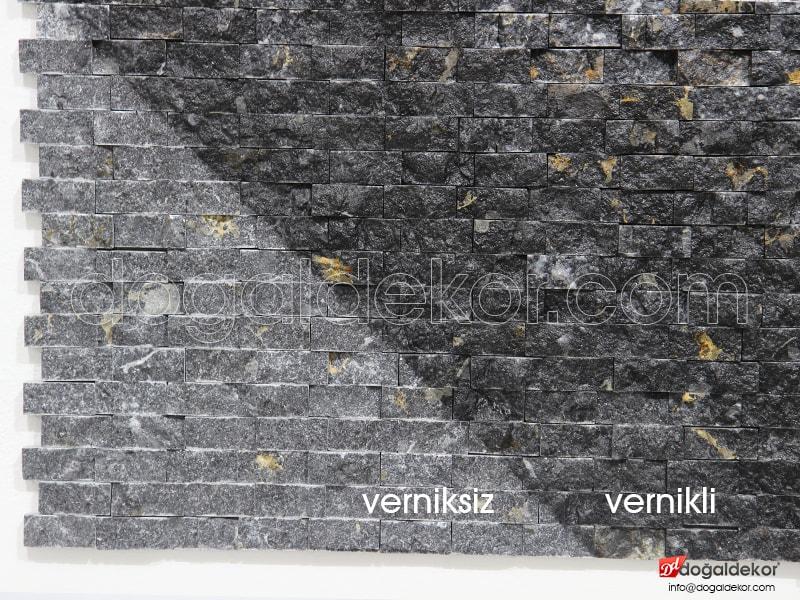 23x48mm Akşehir Siyah Mermer Patlatma Doğal Taş -DT1251