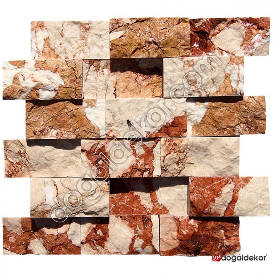 5x10 Kırmızı Damarlı Bej Patlatma Doğaltaş-DT1256