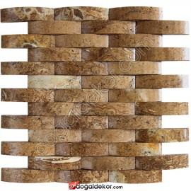 Doğal Taş Mozaik Noce Bullnose Hasır Duvar Kaplama 2.3x10cm - DT1257