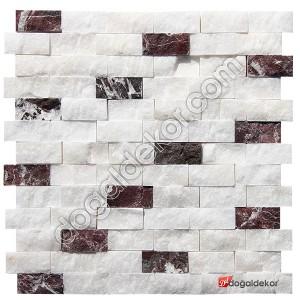 Patlatma Doğal Taş Beyaz Fon Afyon-Vişne Mix 23x48mm -DT1260