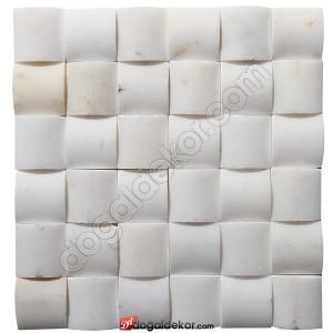 Mermer Hasır Mozaik Afyon Beyaz 5x5-DT1261