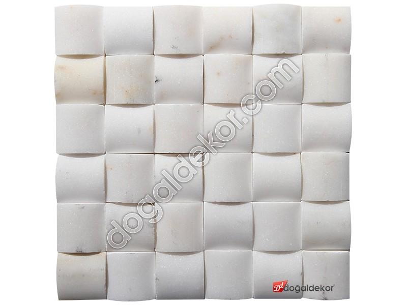5x5 Afyon Beyaz Mermer Hasır Mozaik-DT1261