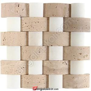 5x10 Traverten-Uşak Mix Doğaltaş Hasır Mozaik-DT1262