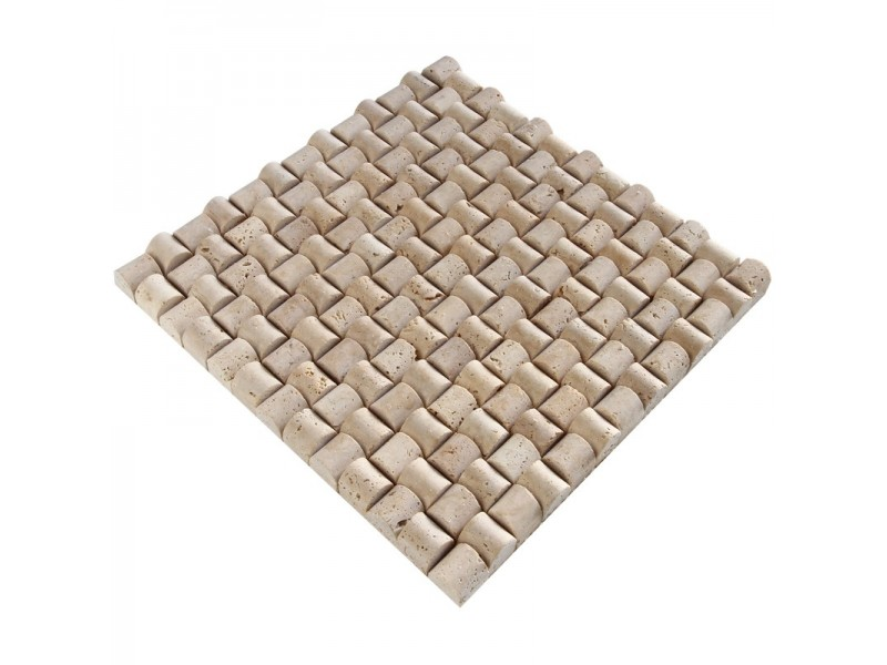 23x23 Doğal Taş Hasır Mozaik Şeker Traverten - DT1330
