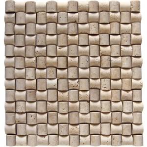Doğal Taş Hasır Traverten Mozaik Şeker  23x23 - DT1330
