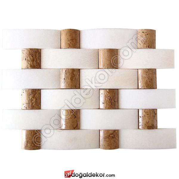 Doğal Taş Duvar Kaplama Hasir Mermer Balık Sırtı  - DT1356