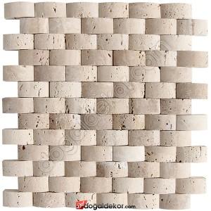 Doğal Traverten Taş Duvar Kaplama Hasir Mermer Balık Sırtı  - DT1367
