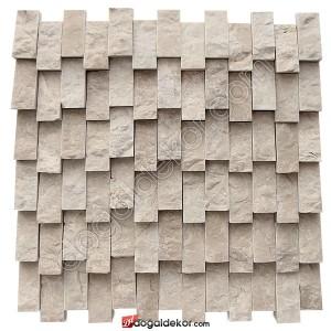 Patlatma Taş Yalı Baskı Dikey Bej Mermer  Doğal Taş Duvar Kaplama-DT1369