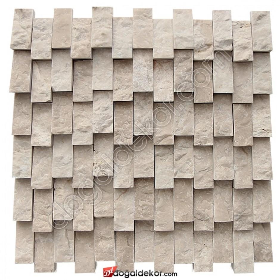 Dikey Bej Mermer Yalı Baskısı Doğaltaş Patlatma Duvar Kaplama-DT1369