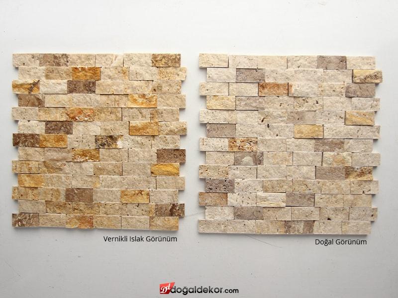 23x48mm 3 Renk Mix Traverten Doğal Taş Duvar Taşları - DT1376