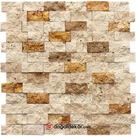 Traverten Doğal Taş Duvar Taşları 3 Renk Mix  23x48mm - DT1376