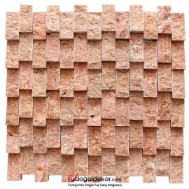 Patlatma Taş Yalı Baskı Dikey Duvar Dekor Taşları Kırmızı - DT1390