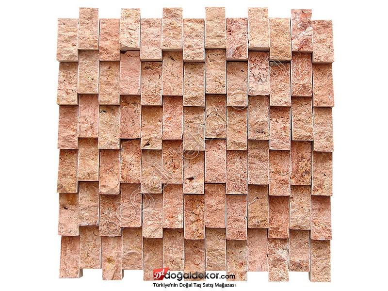 Dikey Duvar Dekor Taşları Kırmızı Traverten- DT1390