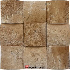 Traverten Noce Konkav Duvar Dekor Taşları 10x10 -DT1393